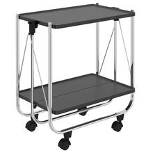 Sumi 2-Tier Bar Cart in Black/Chrome