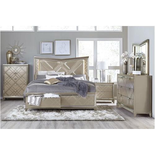Queen Platform Bed with LED Lighting and Footboard Storage