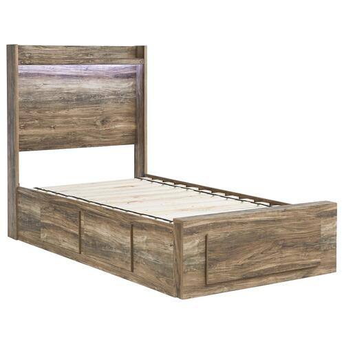 Rusthaven Twin Panel Bed With 5 Storage Drawers