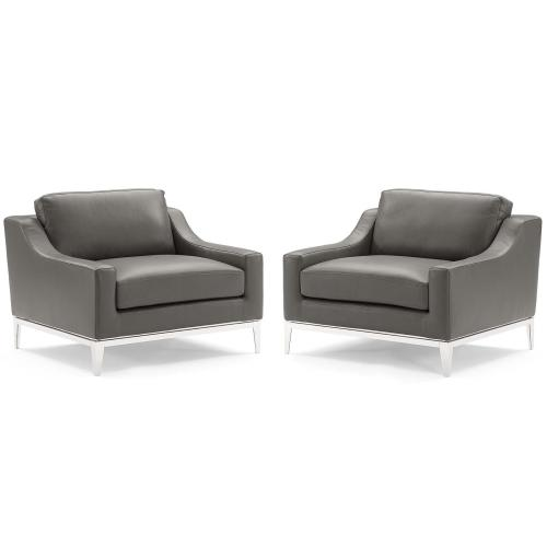 Harness Stainless Steel Base Leather Armchair Set of 2 in Gray