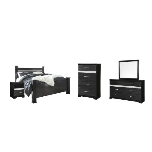 King Poster Bed With Mirrored Dresser, Chest and Nightstand