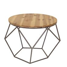 Round Metal Accent Table, Woodtop