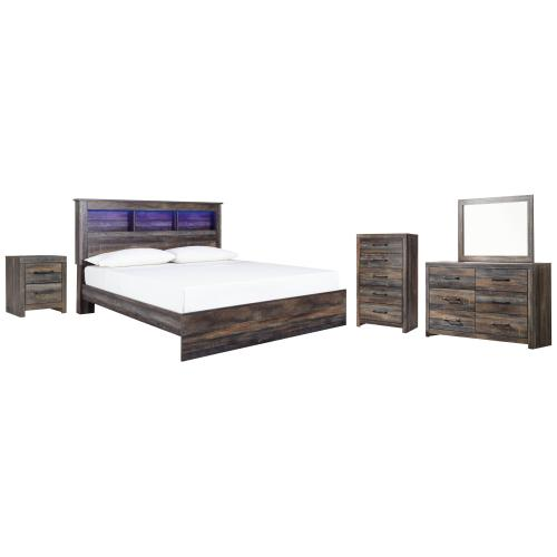 Ashley - King Panel Bookcase Bed With Mirrored Dresser, Chest and Nightstand