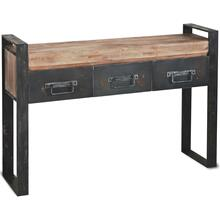 Carga 48L x 12W Black Metal Frame Brown Wooden Top Console Table W/Storage