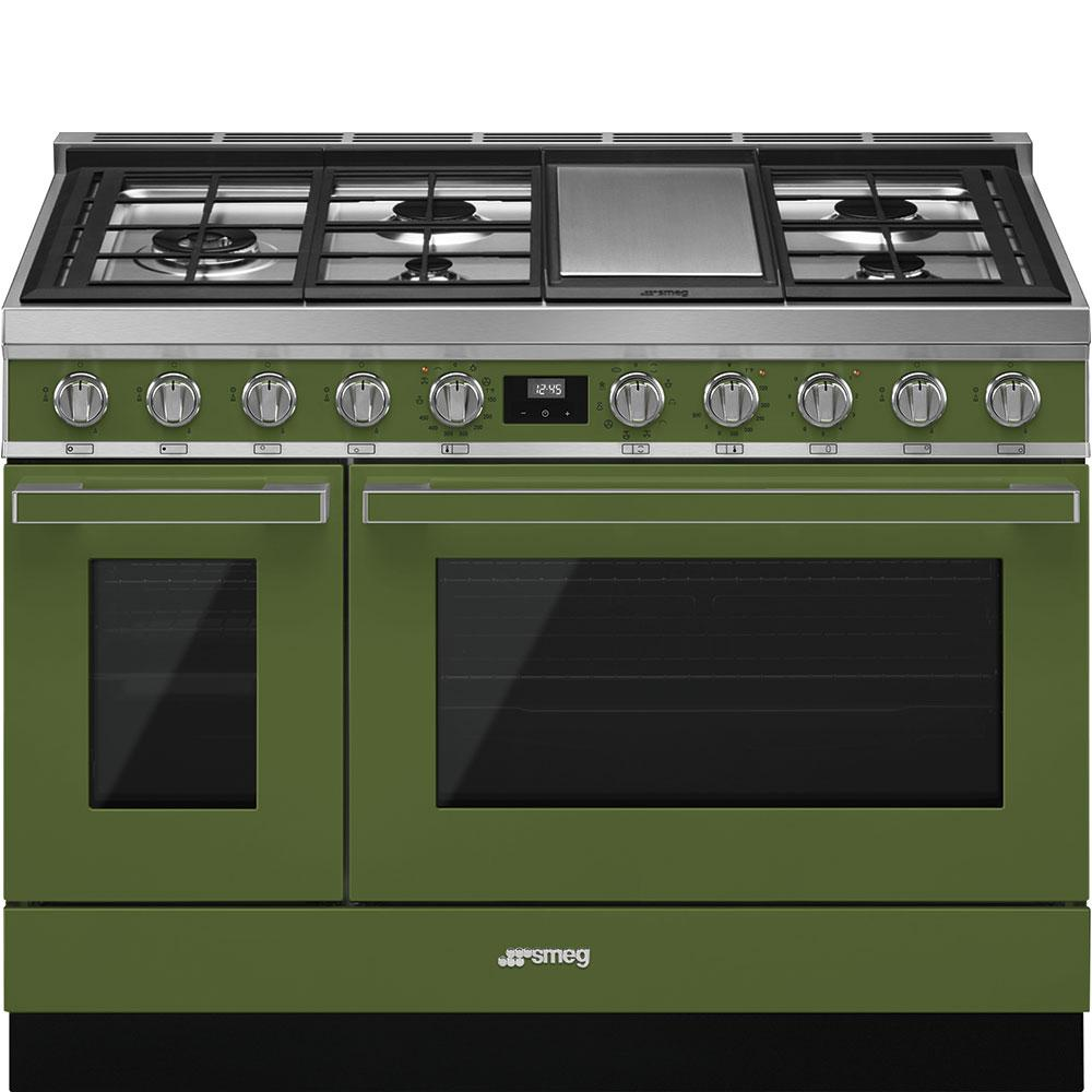 "SmegPortofino Pro-Style Dual Fuel Range, Olive Green, 48"" X 25"""