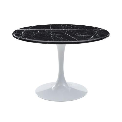 Colfax 45 inch Round Black Marquina Marble Top/White Base Dining Table