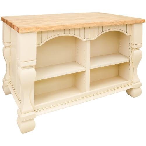 "52-5/8"" x 32-3/8"" x 35-1/4"" Furniture style kitchen island with Antique White finish."