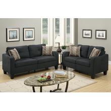 Giovanni 2pc Loveseat & Sofa Set, Black