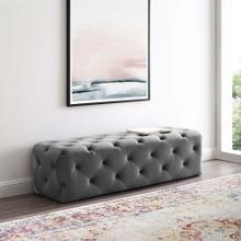 "Amour 60"" Tufted Button Entryway Performance Velvet Bench in Gray"
