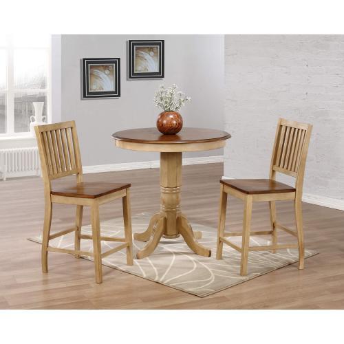 Brook Round Pub Table Set w/Slat Back Stools (3 piece)