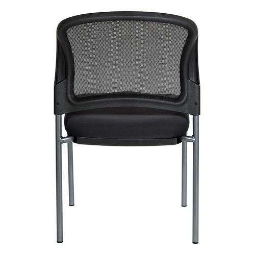 Titanium Finish Black Visitors Chair With Progrid Back and Straight Legs