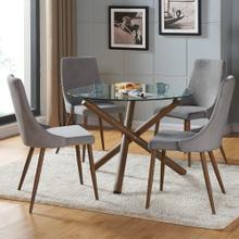 Rocca/Cora 5pc Dining Set, Walnut/Grey