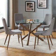 Rocca/Cora 5pc Dining Set, Walnut/Grey