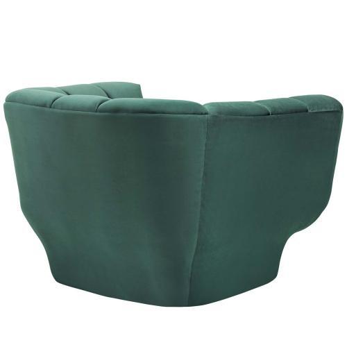 Entertain Vertical Channel Tufted Performance Velvet Armchair in Green