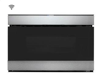 "24"" IoT Microwave Drawer, Stainless Steel, Black Glass Finish, ""Easy Wave Open"" Motion Sensor"