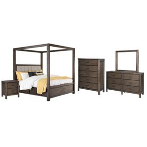 Queen Canopy Bed With 4 Storage Drawers With Mirrored Dresser, Chest and Nightstand