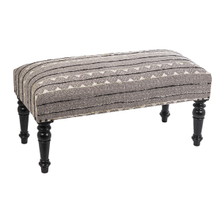 Black & White Block Print with Embroidered Stripe Bench