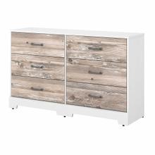 See Details - Tip Guard 6 Drawer Dresser, White Suede Oak/Barnwood
