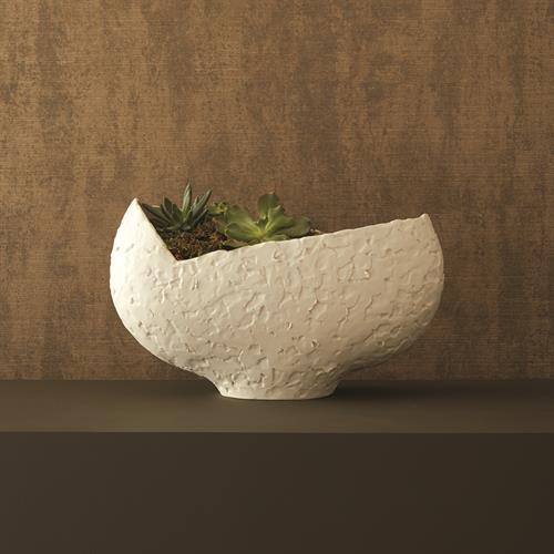 Asymmetrical Stipple Bowl-Matte White
