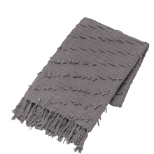 Grey Diagonal Fringe Slub Woven Throw
