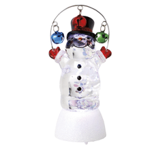 Lighted LED Snowman w/Bells Mini Shimmer