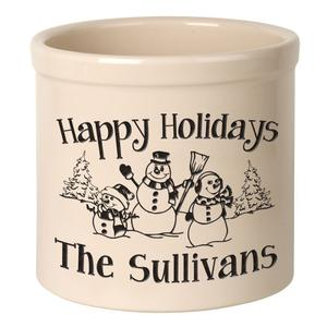 Personalized Snowman Family 2 Gallon Stoneware Crock - Black Engraving / Bristol Crock Product Image