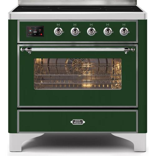 """Ilve - 36"""" Majestic II Series Freestanding Electric Single Oven Range with 5 Elements, Triple Glass Cool Door, Convection Oven, TFT Oven Control Display and Child Lock in Emerald Green"""