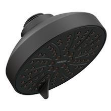 "matte black six-function 4.5"" diameter spray head eco-performance showerhead"