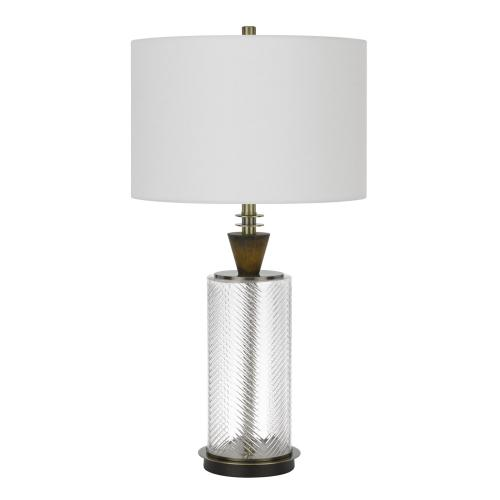 Cal Lighting & Accessories - 150W 3 way Sherwood glass table lamp with wood font and hardback fabric drum shade