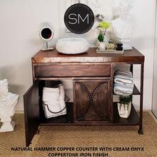 Modern Bathroom Vanity Spiffing Onyx Sink Hammer Copper Top Rustic Finish - Natural Hammer Copper / Coppertone