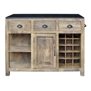 CRESTVIEW COLLECTIONSBengal Manor Mango Wood and Granite Kitchen Island