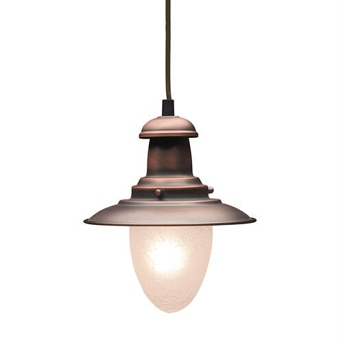 Farmhouse 1-Light Mini Pendant in Antique Copper with Matching Shade