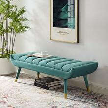 Guess Channel Tufted Performance Velvet Accent Bench in Teal