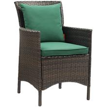Conduit Outdoor Patio Wicker Rattan Dining Armchair in Brown Green