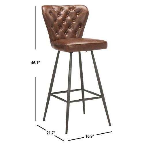 "Aster 30"" H Mid - Century Modern Leather Tufted Bar Stool - Burgundy"