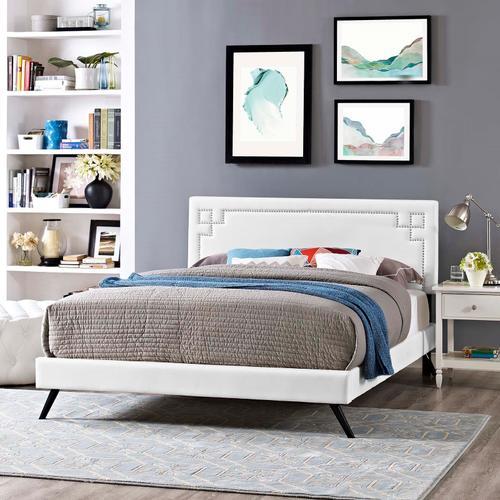 Modway - Ruthie Full Vinyl Platform Bed with Round Splayed Legs in White