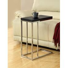 ACCENT TABLE - ESPRESSO WITH CHROME METAL