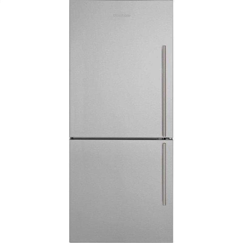 30in Width Bottom Freezer/Fridge 18 cuft, wrapped stainless doors, stainless handles