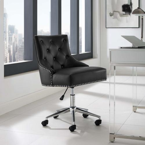 Regent Tufted Button Swivel Faux Leather Office Chair in Black