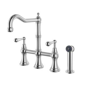 Waterhaus Solid Stainless Steel Bridge Faucet with a Traditional Spout, Lever Handles and Side Spray Product Image