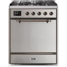Majestic II 30 Inch Dual Fuel Natural Gas Freestanding Range in Stainless Steel with Bronze Trim
