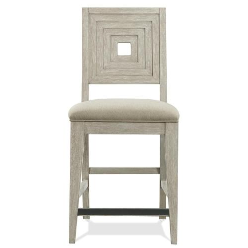 Cascade - Upholstered Wood Back Counter Stool - Dovetail Finish