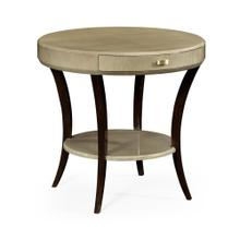 Opera Art Deco round side table with drawer and brass handle