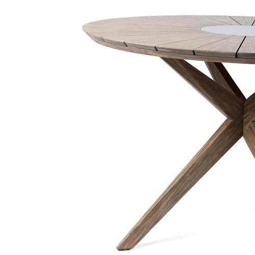Oasis Outdoor Light Eucalyptus Wood and Concrete Round Dining Table