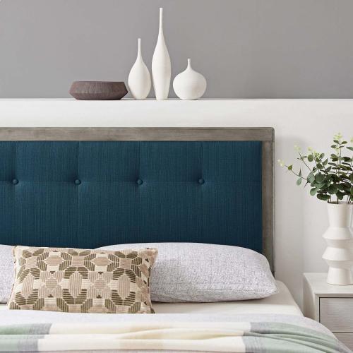 Draper Tufted Full Fabric and Wood Headboard in Gray Azure