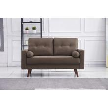See Details - 8133 BROWN Linen Stationary Tufted Loveseat