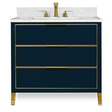 Blue Satin Brass MUSE Metal Trim 36-in Single-Basin Vanity with Carrara Stone Top