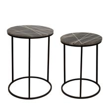 S/2 Metal/ Marble Side Table W/ Gold Inlays, Black