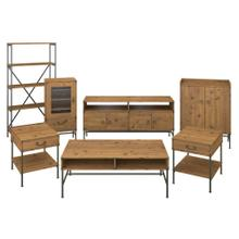 Ironworks TV Stand with Audio Cabinet, Storage and Living Room Table Set - Vintage Golden Pine