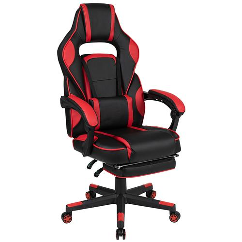 Gallery - Black Gaming Desk with Cup Holder\/Headphone Hook\/2 Wire Management Holes & Red Reclining Back\/Arms Gaming Chair with Footrest